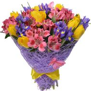 Bouquet of irises, alstromeries and tulips - flowers and bouquets on df.ua