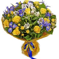 Bouquet of irises, alstromeria and roses - flowers and bouquets on df.ua