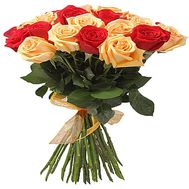 """""""Bouquet of red and cream roses"""" in the online flower shop df.ua"""
