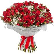 Bouquet of red roses bush with gypsophila - flowers and bouquets on df.ua