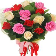 15 multi-colored roses - flowers and bouquets on df.ua
