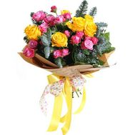 Bouquet of bush roses with pine branches - flowers and bouquets on df.ua