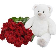Bouquet of roses and teddy bear - flowers and bouquets on df.ua