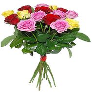 """15 multi-colored roses"" in the online flower shop df.ua"