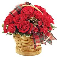 Arrangement for New Year in a basket with cones - flowers and bouquets on df.ua