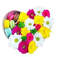 Box of flowers with macaroons - flowers and bouquets on df.ua