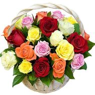 Basket of roses of different colors - flowers and bouquets on df.ua