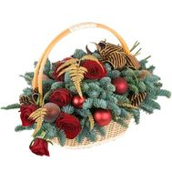 Basket for the New Year from branches of fir or pine with roses and toys - flowers and bouquets on df.ua