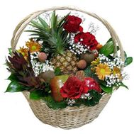 Basket with flowers and fruits - flowers and bouquets on df.ua