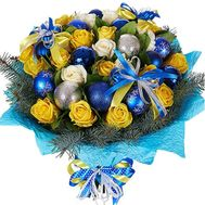 Beautiful bouquet for the New Year with toys - flowers and bouquets on df.ua