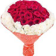 Красно белый букет роз 101 - цветы и букеты на df.ua