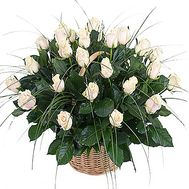 Cream roses in the basket - flowers and bouquets on df.ua
