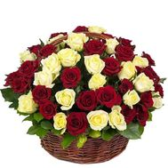 Mix of white and red roses basket - flowers and bouquets on df.ua