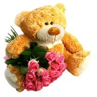 Bear and bouquet of roses - flowers and bouquets on df.ua