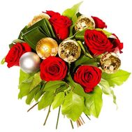 New Year bouquet of roses and toys - flowers and bouquets on df.ua