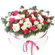 Новогодняя композиция из роз в коробке - цветы и букеты на df.ua