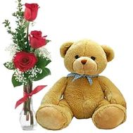 A teddy bear with 3 roses - flowers and bouquets on df.ua