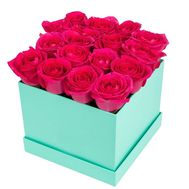 Pink roses in a square box - flowers and bouquets on df.ua
