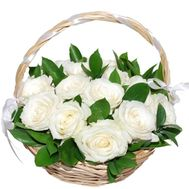 15 white roses basket - flowers and bouquets on df.ua