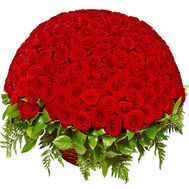 A beautiful bouquet of red roses in a basket - flowers and bouquets on df.ua