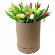 Тюльпани в шляпній коробці - цветы и букеты на df.ua