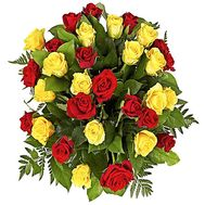 Bright basket of yellow and red roses - flowers and bouquets on df.ua