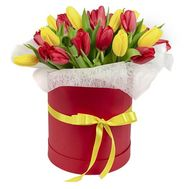 25 red and yellow tulips in a box - flowers and bouquets on df.ua