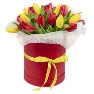 25 червоних і жовтих тюльпанів в коробці - цветы и букеты на df.ua