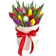 Коробка різнокольорових тюльпанів - цветы и букеты на df.ua
