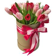 Red and pink tulips in a box - flowers and bouquets on df.ua