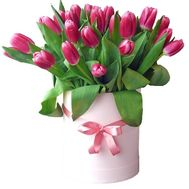Pink tulips in a hat box - flowers and bouquets on df.ua