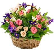 """Flower basket with iris and spray roses"" in the online flower shop df.ua"