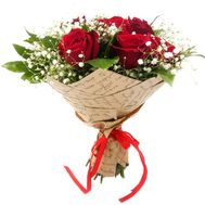 9 red roses with gypsophila - flowers and bouquets on df.ua