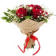 9 красных роз с гипсофилой - цветы и букеты на df.ua