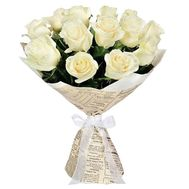 """Букет з 15 білих троянд"" в интернет-магазине цветов df.ua"