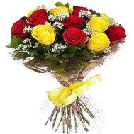 """""""17 red and yellow roses"""" in the online flower shop df.ua"""