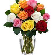 11 разноцветных роз - цветы и букеты на df.ua