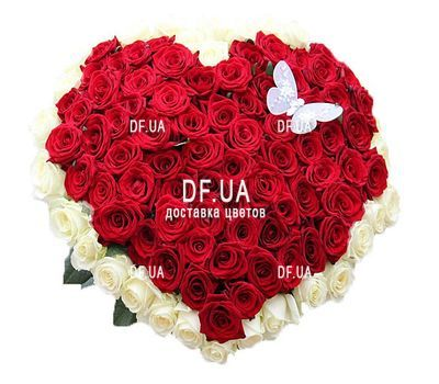 """""""Bouquet of red and white roses in the form of heart"""" in the online flower shop df.ua"""