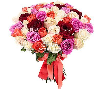 """45 multi-colored roses"" in the online flower shop df.ua"