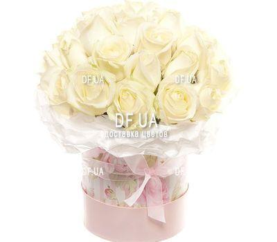 """""""Белые розы в коробке с бантом"""" в интернет-магазине цветов df.ua"""
