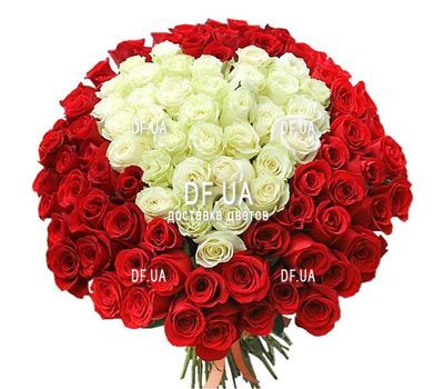 """Heart-shaped bouquet of flowers"" in the online flower shop df.ua"