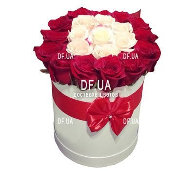 """""""A beautiful box of white and red roses"""" in the online flower shop df.ua"""