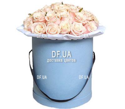 """""""Красивые кремовые розы в круглой коробке"""" в интернет-магазине цветов df.ua"""