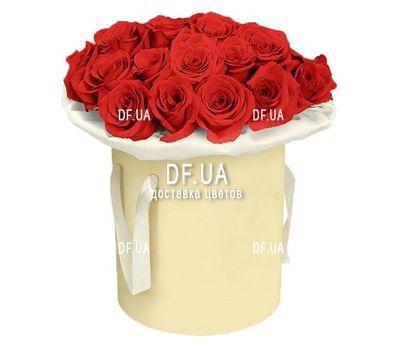 """""""Красные розы в шляпной коробке"""" в интернет-магазине цветов df.ua"""
