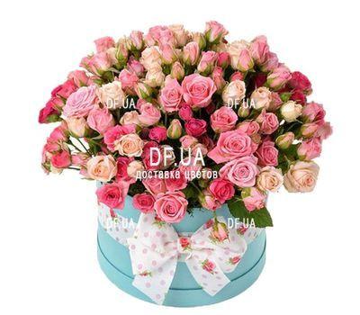 """""""Кустовые розы в круглой коробке"""" в интернет-магазине цветов df.ua"""
