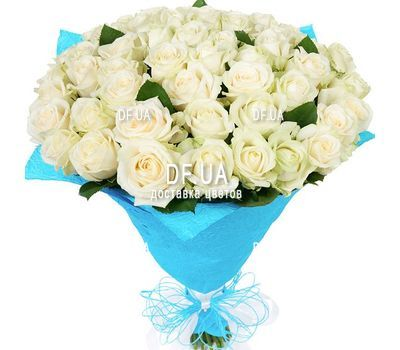"""A bouquet of 51 white roses - view 1"" in the online flower shop df.ua"