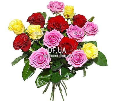 """A bouquet of roses of different colors - view 1"" in the online flower shop df.ua"