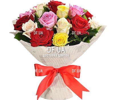 """25 multi-colored roses"" in the online flower shop df.ua"