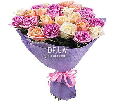"""27 multi-colored roses"" in the online flower shop df.ua"