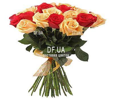 """Bouquet of red and cream roses"" in the online flower shop df.ua"
